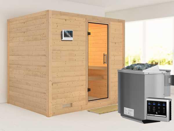 Sauna Massivholzsauna Sonara Klarglas Ganzglastür + 9 kW Bio-Kombiofen mit ext. Strg