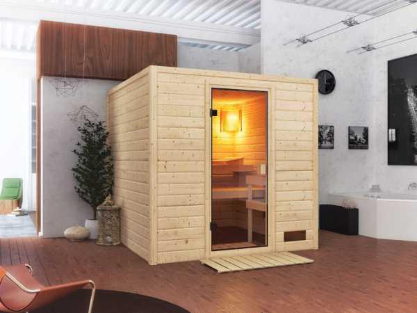 """Sauna Massivholzsauna SPARSET """"Jara"""", inkl. 9 kW Ofen mit ext. Steuerung"""