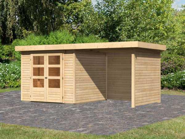 Gartenhaus SET Askola 3,5 19 mm naturbelassen, inkl. 2,4 m Anbaudach + Seiten- und Rückwand