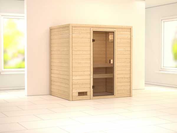 """Sauna Massivholzsauna SPARSET """"Oslo 1"""" inkl. 9 kW Saunaofen integr. Steuerung"""