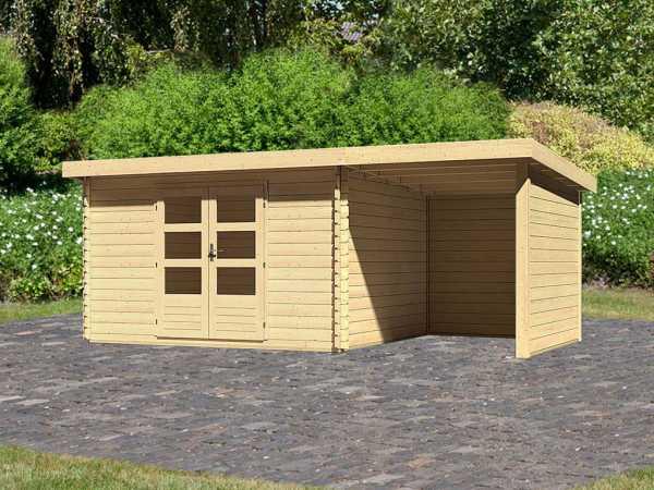Gartenhaus Blockbohlenhaus SET Bastrup 7 28 mm naturbelassen, inkl. 2 m Anbaudach + Seiten-/Rückwand