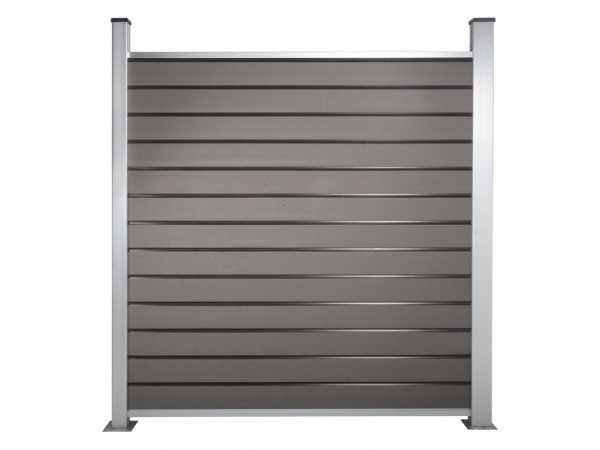 Sichtschutzzaun Sichtblende Komplettset Steckzaun grau inkl. Pfosten und Pfostenankern