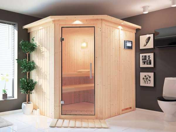 Sauna Systemsauna Lilja mit Dachkranz, Klarglas Ganzglastür + Plug & Play Saunaofen mit ext.Strg