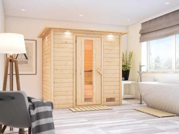 Massivholzsauna Anja mit Dachkranz, Holztür mit Isolierglas