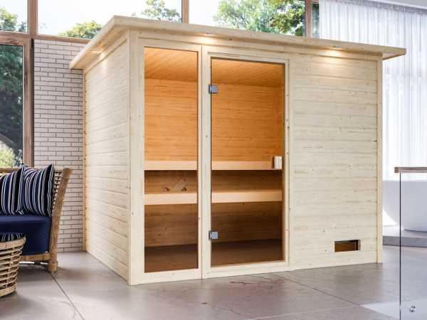 """Sauna """"Kiana"""" mit bronzierter Glastür und Dachkranz"""