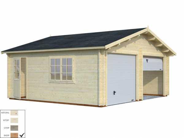 Garage Roger 28,4 m² mit Sektionaltor 44 mm braun tauchimprägniert