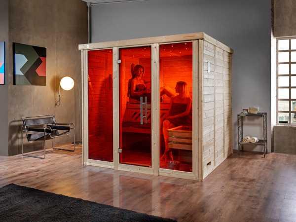 Sauna Massivholz-Elementsauna Kemi Panorama 3 inkl. Saunaofen OS 7,5 kW + externer Steuerung