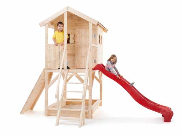 """Spielhaus SET """"Nele"""" naturbelassenbelassen inkl. 2,3 m Rutsche, Sandkasten und Kletterwand"""
