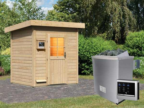 Saunahaus Jana mit Holztür, inkl. 9 kW Saunaofen mit externer Steuerung