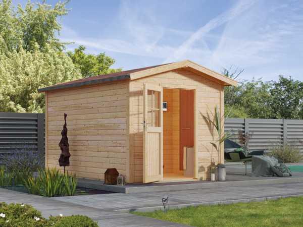 Saunahaus Birka 1 mit Holztür & Vorraum, inkl. 9 kW Saunaofen mit externer Steuerung
