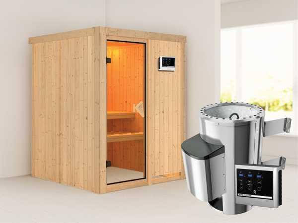 Sauna Systemsauna Minja inkl. Plug & Play Saunaofen externe Steuerung