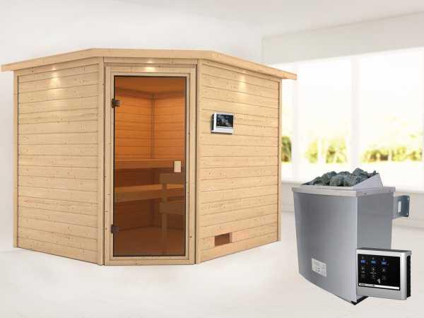 Sauna Lotta mit bronzierter Glastür und Dachkranz + 9 kW Saunaofen ext. Strg.