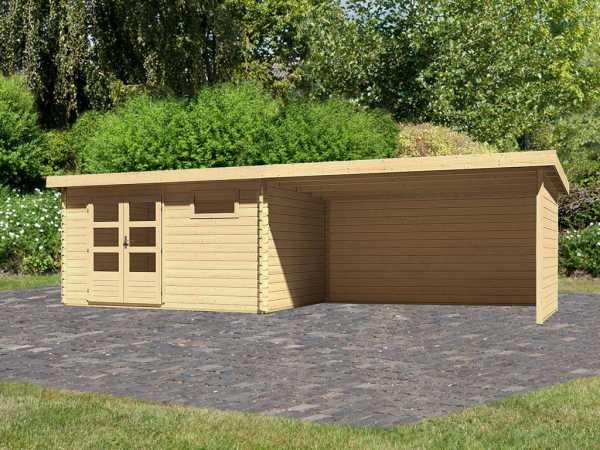 Gartenhaus Blockbohlenhaus SET Bastrup 8 28 mm naturbelassen, inkl. 4 m Anbaudach + Seiten-/Rückwand