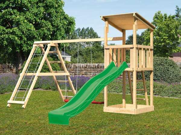 Spielturm SET Anna naturbelassen inkl. Rutsche grün + Doppelschaukel mit Klettergerüst