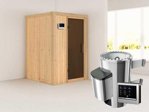 Sauna Systemsauna Lenja graphit Ganzglastür + Plug & Play Saunaofen mit externer Steuerung