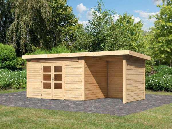 Gartenhaus SET Kandern 7 28 mm terragrau, inkl. 2,6 m Anbaudach + Seiten- und Rückwand
