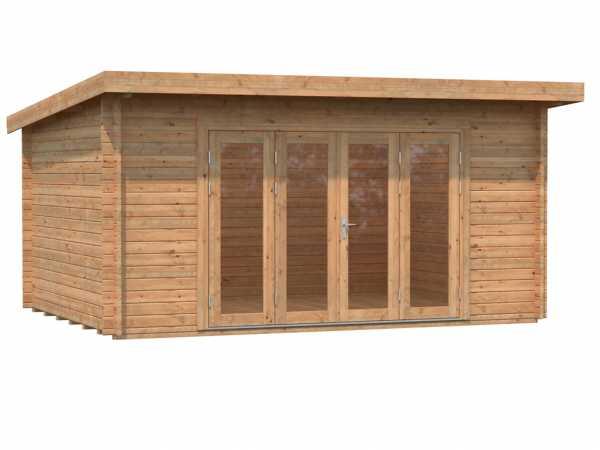 Gartenhaus Blockbohlenhaus Lea 14,2 m² 44 mm braun tauchimprägniert