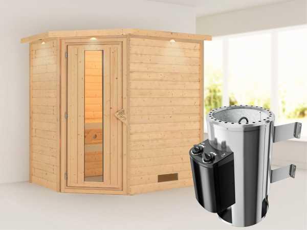 Sauna Massivholzsauna Cilja mit Dachkranz, Energiespartür + Plug & Play Saunaofen mit Steuerung