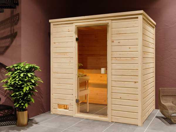 """Sauna Systemsauna """"Valida 1"""" bronzierte Ganzglastür inkl. 9 kW Saunaofen mit ext. Steuerung"""