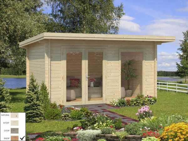 Gartenhaus Blockbohlenhaus Heidi 11,7 m² 44 mm braun tauchimprägniert