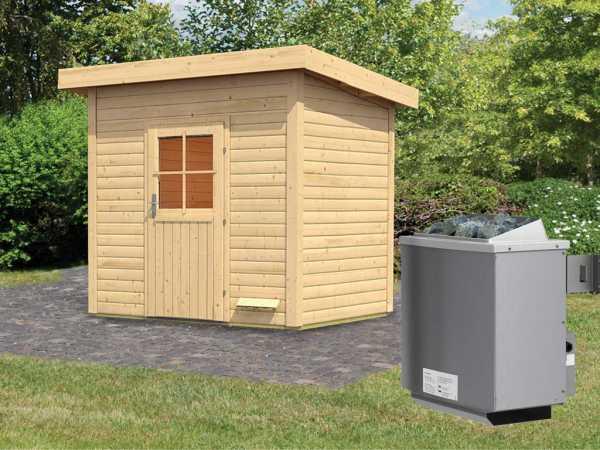 """Saunahaus """"Kristina"""" mit Holztür, inkl. 9 kW Saunaofen mit integrierter Steuerung"""