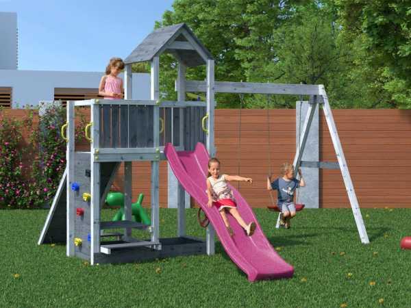 """Spielturm SPARSET """"Floppi"""" grau-weiß, inkl. 2,28 m Rutsche pink"""