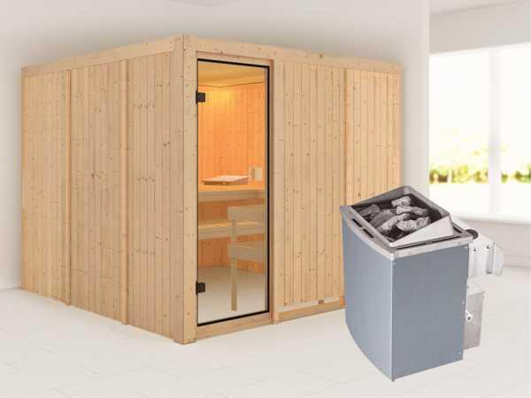 """Sauna """"Arvika"""" / """"Celine 8"""" mit bronzierter Glastür + 9 kW Saunaofen integr. Strg."""
