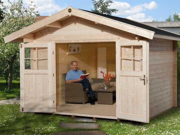 Gartenhaus Premium28 Gr. 1 28 mm natubelassen mit 20 cm Vordach