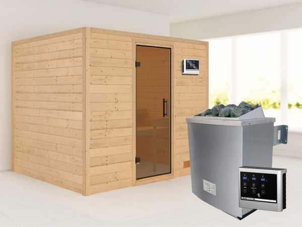 Sauna Massivholzsauna Karla graphit Ganzglastür + 9 kW Saunaofen mit ext. Strg