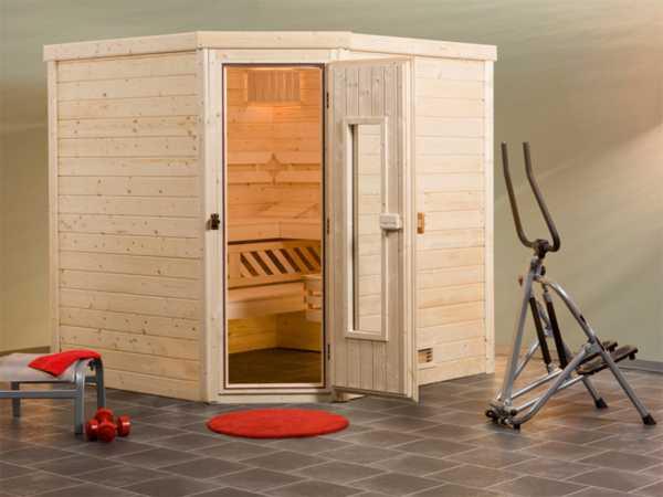 Sauna Massivholzsauna Turku 3 HT isolierte Holztür mit Glasausschnitt