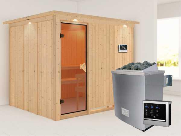 Systemsauna Gobin mit Dachkranz, bronzierte Ganzglastür, inkl. 9 kW Saunaofen ext. Steuerung