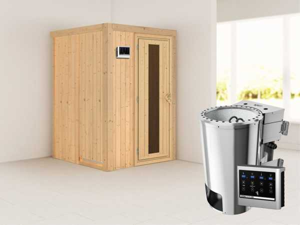 Sauna Systemsauna Lenja Energiespartür + Plug & Play Bio-Ofen mit externer Steuerung