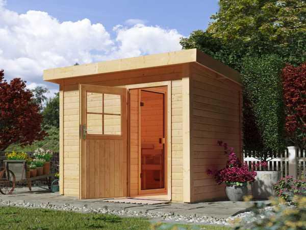 Saunahaus Suva Z mit Holztür, inkl. 9 kW Ofen mit externer Steuerung