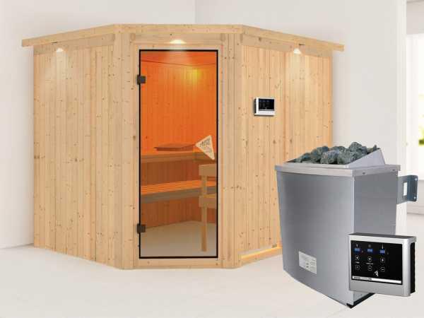 Systemsauna Malin mit Dachkranz, bronzierte Ganzglastür, inkl. 9 kW Saunaofen ext. Steuerung