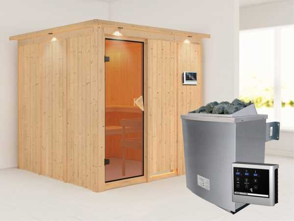 Systemsauna Rodin mit Dachkranz, bronzierte Ganzglastür, inkl. 9 kW Saunaofen ext. Steuerung