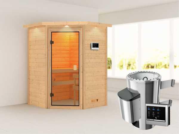 Sauna Antonia mit bronzierter Glastür und Dachkranz + 3,6 kW Plug & Play Saunaofen ext. Strg.