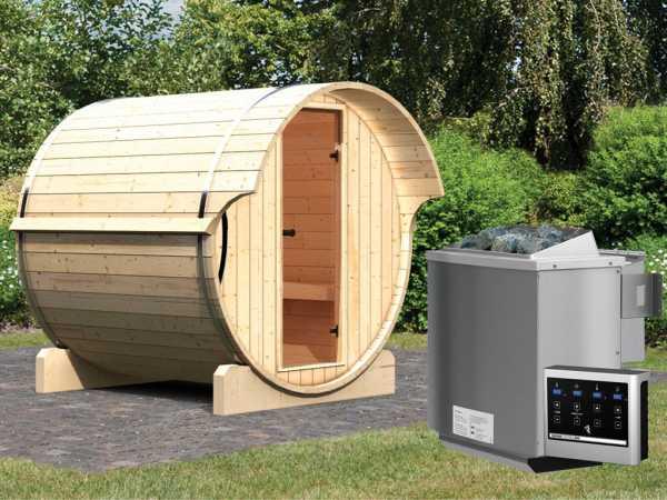 Saunafass Fass-Sauna 1 inkl. 9 kW Bio-Kombiofen ext. Steuerung