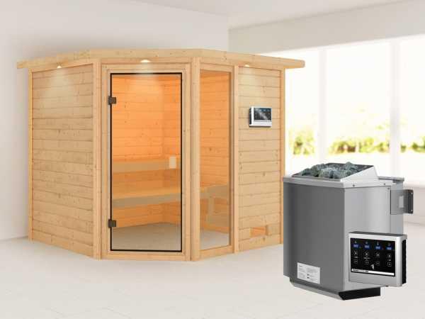 Sauna Tabea mit bronzierter Glastür und Dachkranz + 9 kW Bio-Kombiofen ext. Strg.