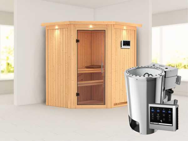 Sauna Systemsauna Tonja mit Dachkranz, Klarglas Ganzglastür + Plug & Play Bio-Ofen mit externer Steu