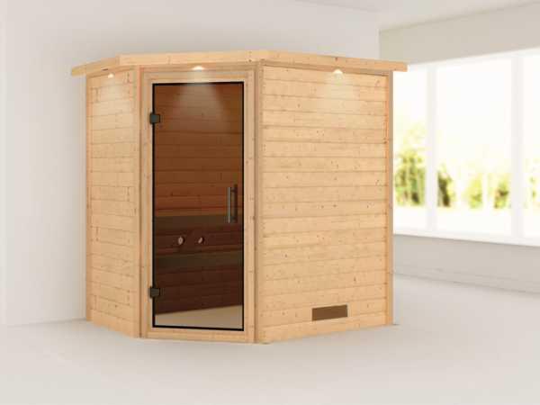 Sauna Massivholzsauna Svea mit Dachkranz, graphit Ganzglastür