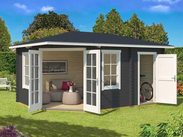 Gartenhaus Blockbohlenhaus Aruba 2A 40 mm carbongrau