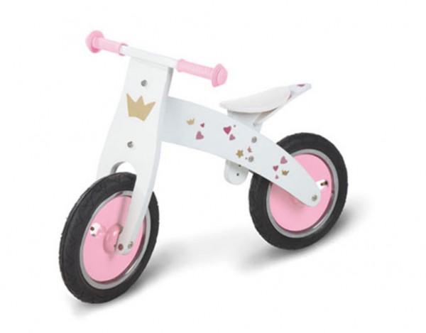 Laufrad Pinky Birke, weiß und rosa lackiert