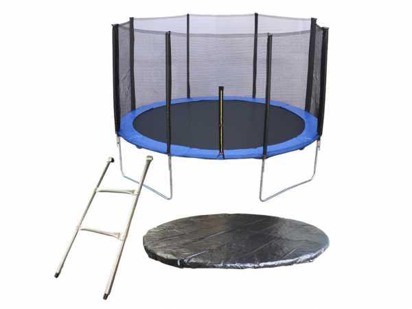 Trampolin SPARSET mit Sicherheitsnetz, 3,05 m Durchmesser mit 180 cm Netz