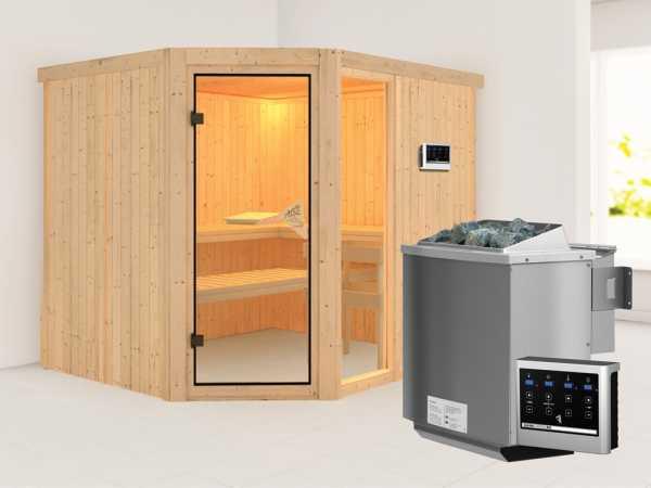 Sauna Systemsauna SPARSET Akoya inkl. 9 kW Bio-Kombiofen mit ext. Steuerung, bronzierte Glastür
