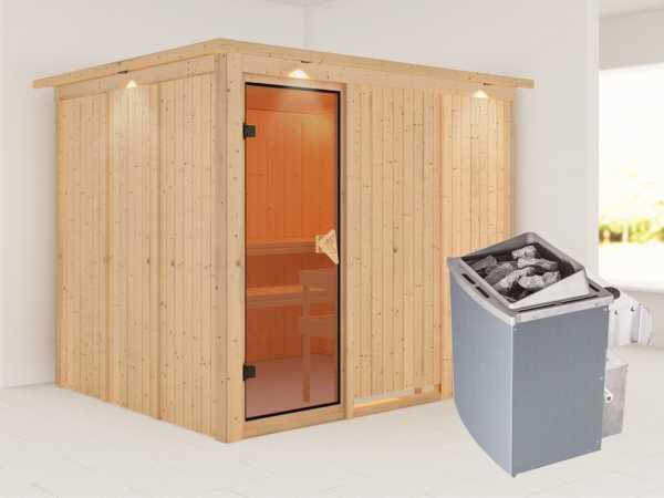 Systemsauna Gobin mit Dachkranz, bronzierte Ganzglastür, inkl. 9 kW Saunaofen integr. Steuerung