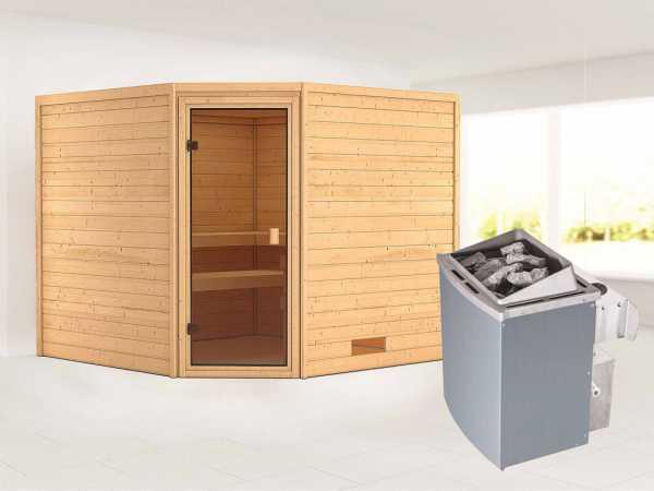 Sauna Massivholzsauna Leona bronzierte Ganzglastür + 9 kW Saunaofen mit Steuerung