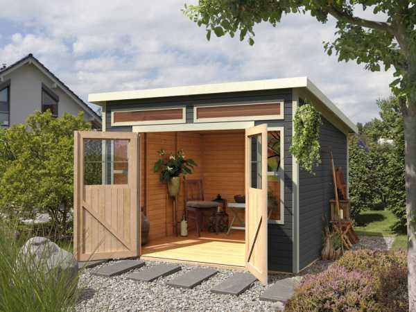 gartenhaus langenau 7 19 mm terragrau pultdach gartenhaus garten holzprofi24. Black Bedroom Furniture Sets. Home Design Ideas