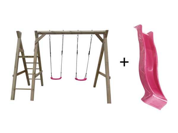 Doppelschaukel mit Podest kdi inkl. Rutsche pink + 2 Schaukelsitze pink
