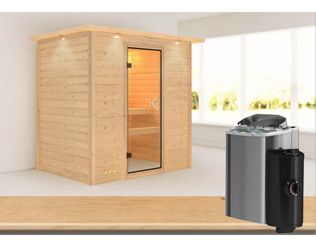 sauna massivholzsauna plug play ronja mit dachkranz. Black Bedroom Furniture Sets. Home Design Ideas