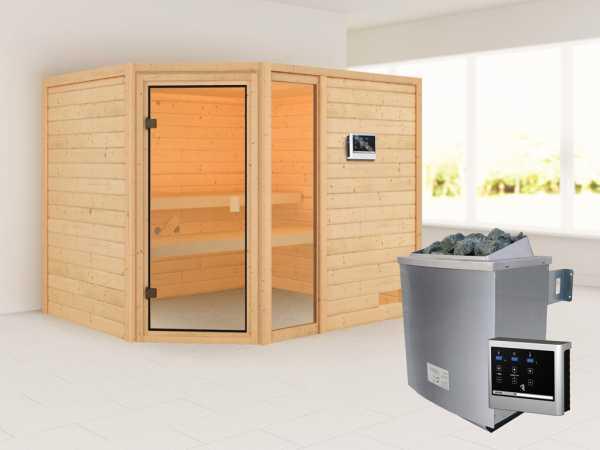 """Sauna """"Lola"""" mit bronzierter Glastür + 9 kW Saunaofen ext. Strg."""